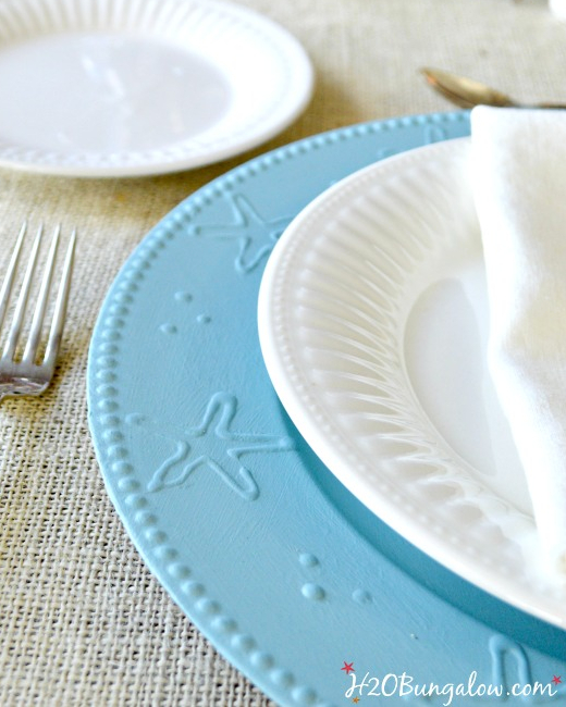 DIY Blue Painted Charger Plates