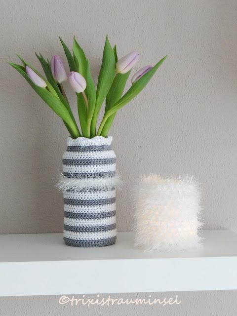 trixistrauminsel: Gehäkelte Vase und Windlicht