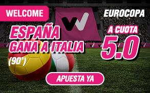 wanabet supercuota 5 España gana Italia Euro2016 + 150 euros codigo JRVM 27 junio