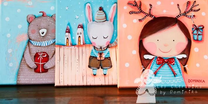 les chérubins cute christmas paintings