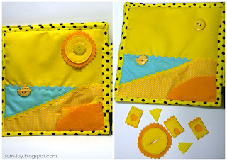 yellow Rainbow quiet book - children's fabric busy book, развивающая книжка
