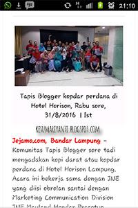 Cerita Seru Kopdar My JNE Bersama Tapis Blogger di Jejamo
