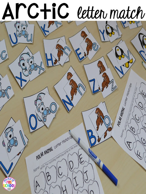 Arctic letter match up for a zoo theme. Desert art FREEBIE. Prefect for preschool, pre-k, and kindergarten.