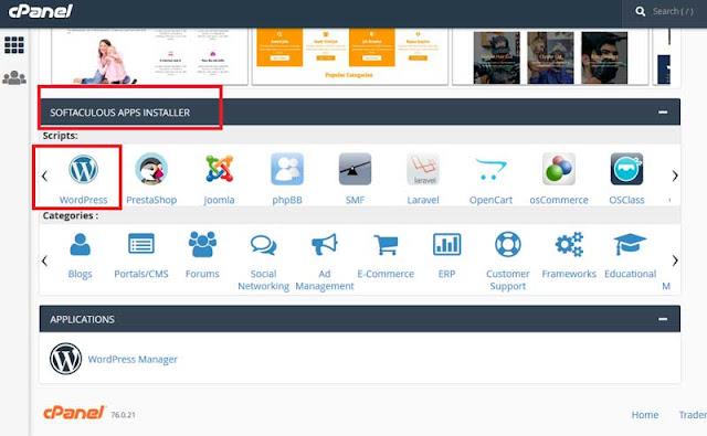 Softaculous Apps Installer >> Wordpress