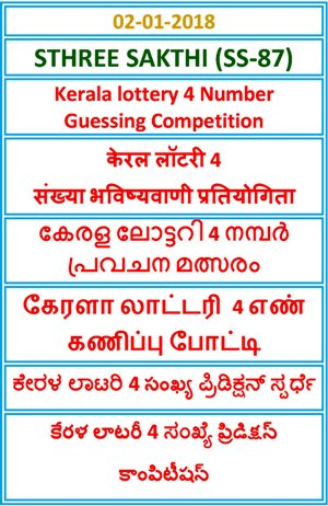 Kerala lottery 4 Number Guessing Competition STHREE SAKTHI SS-87
