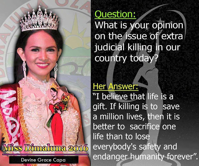 Ms. Dimaluna Tourism 2016 on EJK Issue: 'It Is Better to Sacrifice One Life Than to Lose Everybody's Safety and Endanger Humanity Forever'