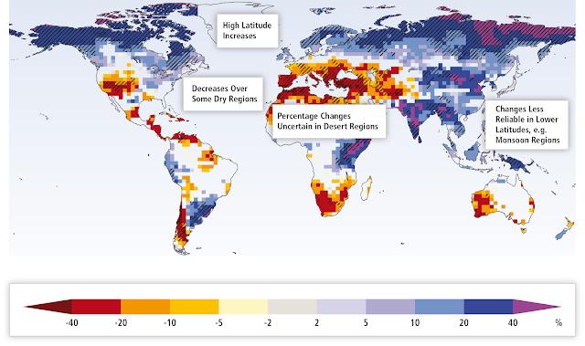 Evolution de la ressource hydroélectrique avec le dérègelement du climat selon le GIEC