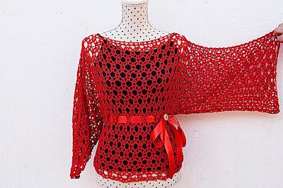 Blusa roja Majovel Crochet ganchillo 3