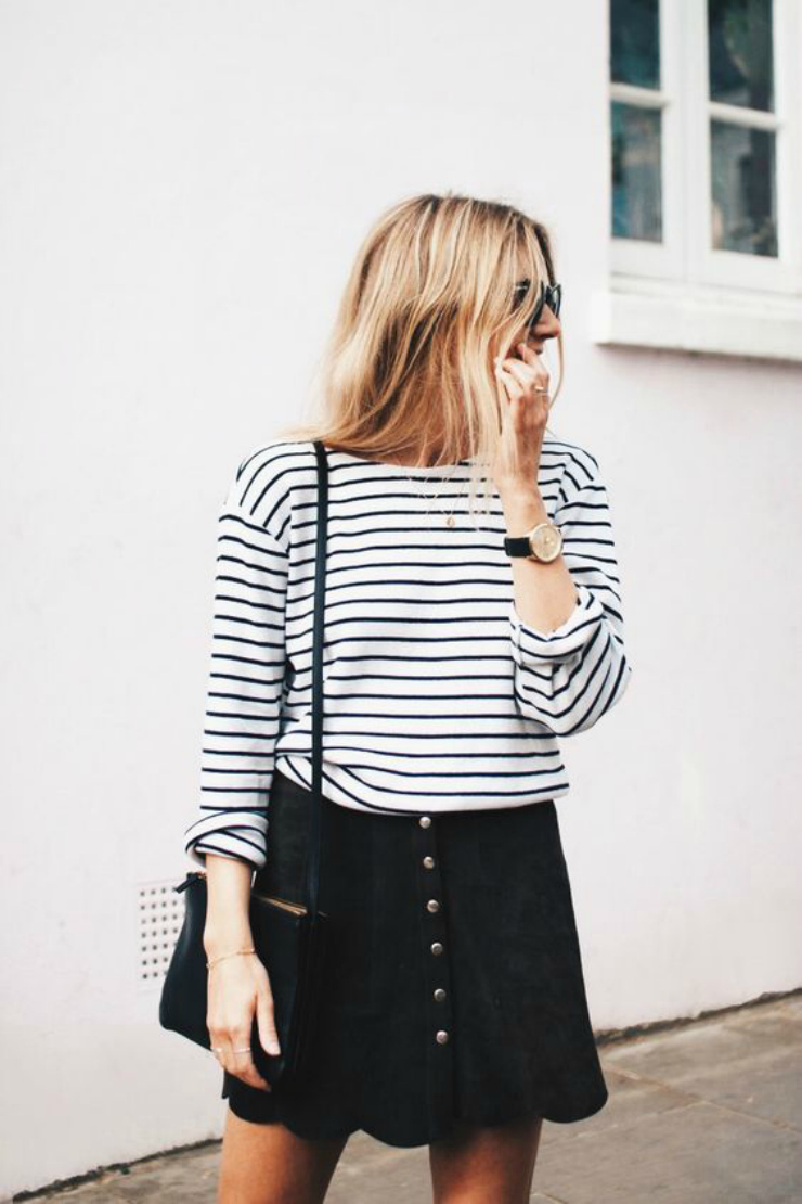 black skirt and striped shirt
