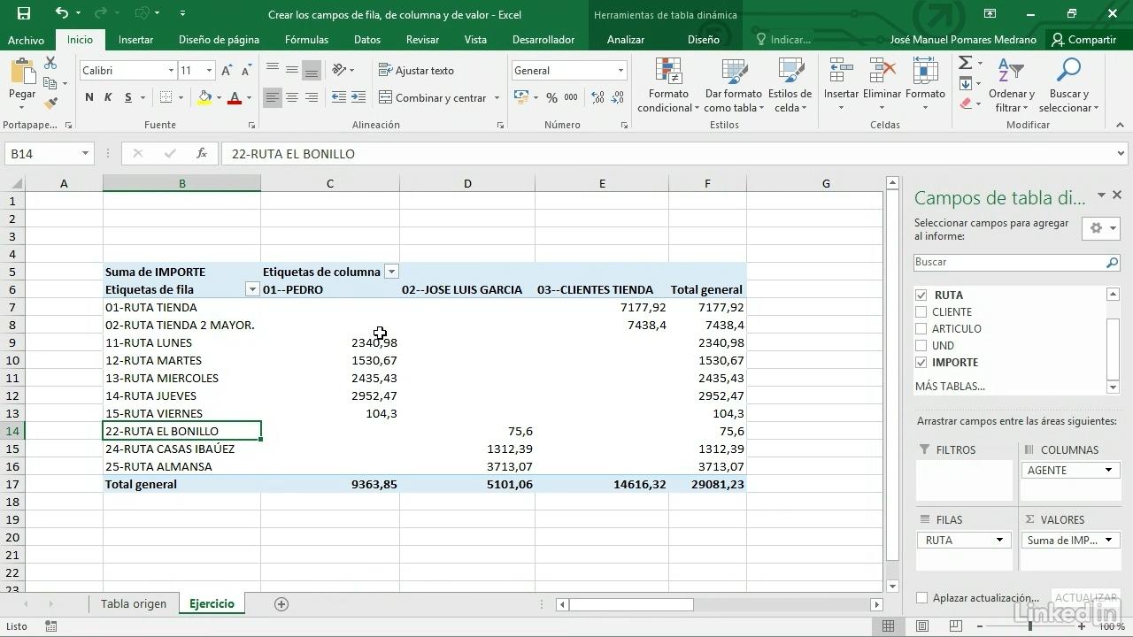 Crear los campos de fila. Excel 2016 curso v2b