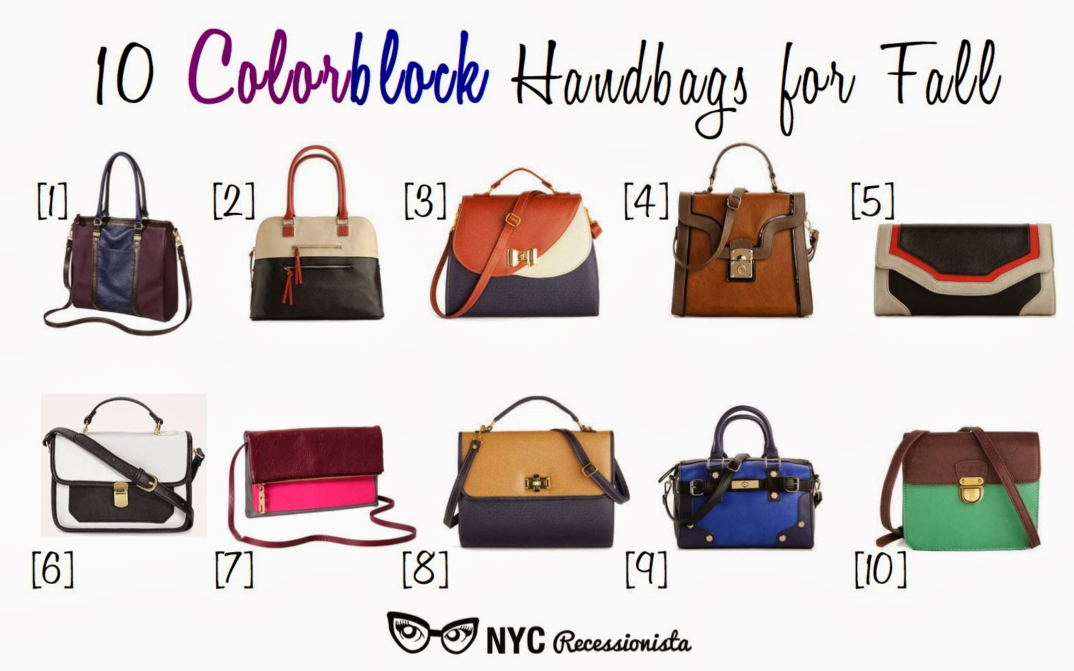 Nyc Recessionista Roundup Colorblock Handbags