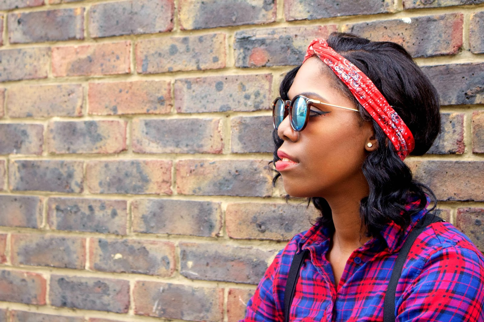 The Post Blogging Event Comedown, H&M checked shirt, H&M Red headband, ASOS green sunglasses, missguided navy high waisted shorts, black topshop braces, style blogger, fashion blogger, brick wall, uk blogger, black girls who blog, black girl magic, 100 ways to 30