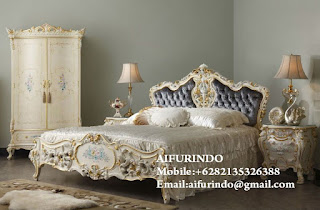 bed louis racoco white color of bed room set from indonesia furniture