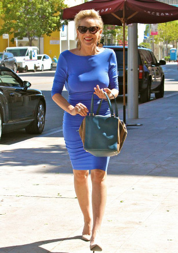 cobalt blue dress and white shoes