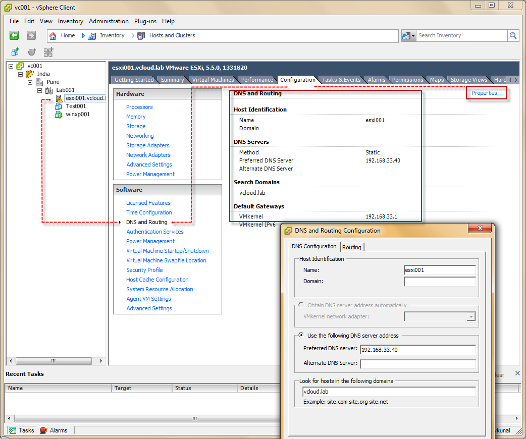 vGeek: Where is DNS and Routing settings in vsphere web Client?