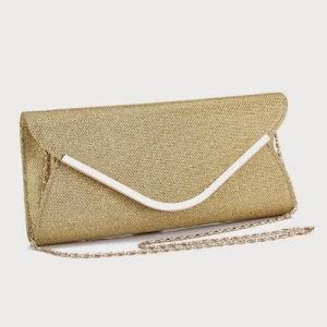 22fbbe361c Promithi Ladies Womens Flannel Wedding Bridal Evening Handbag Party Club Purse  Clutch Bag (Gold)