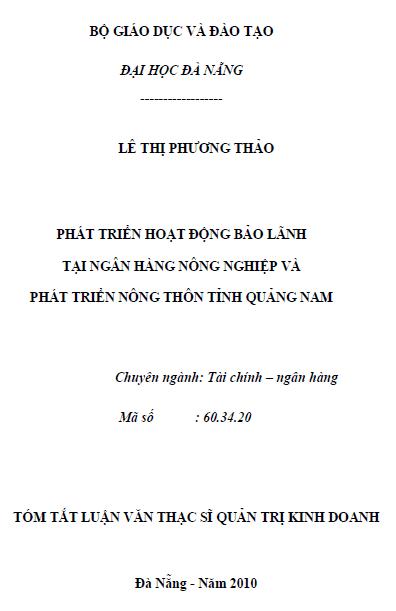 Phát triển hoạt động báo lãnh tại ngân hàng nông nghiệp và phát triển nông thôn tỉnh Quảng Nam