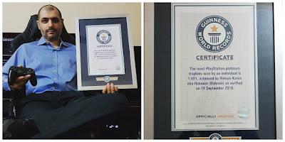 Hakam Karim Hakoom Guiness con 1691 trofeos de Platino en PlayStation