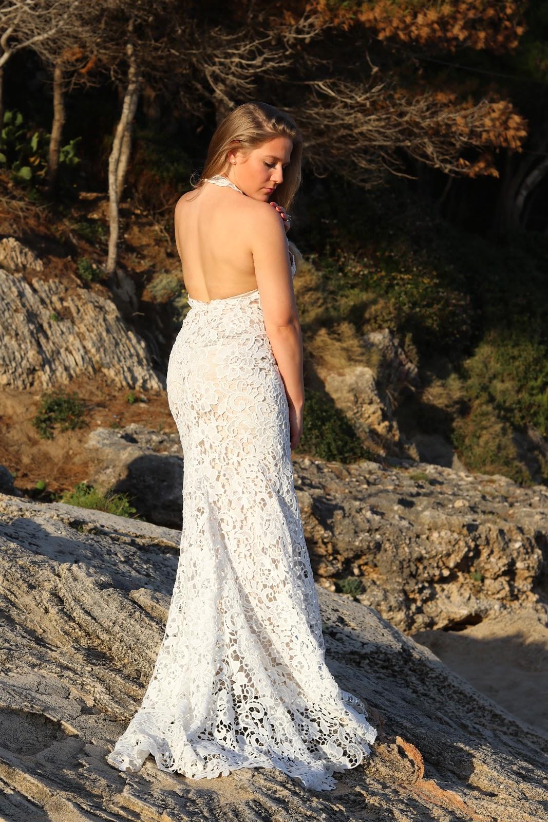 Katie Heath wearing Missguided Wedding Dress on the beach in Kefalonia, Greece