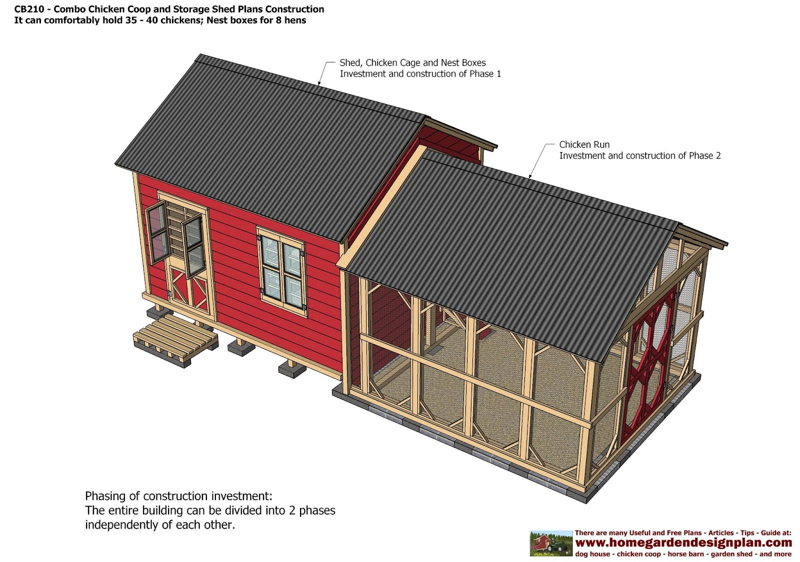 Home garden plans cb210 combo plans chicken coop for Storage shed playhouse combo plans