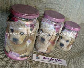 Potes de vidro com craquelê incolor: cãezinhos