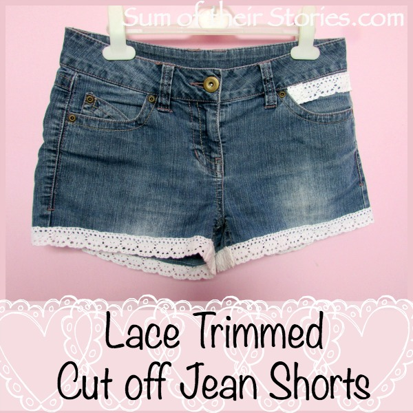 Lace Cut Off Jeans