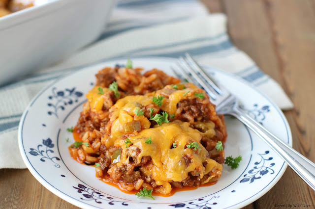 Easy Stuffed Peppers Casserole recipe from Served Up With Love