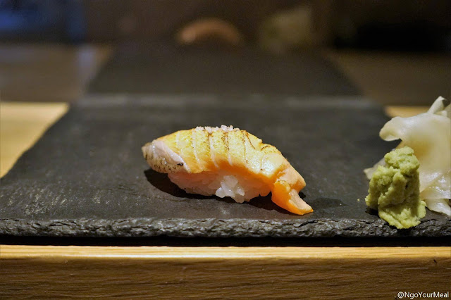 King Salmon Sushi with Truffle Salt at DOMODOMO in New York City