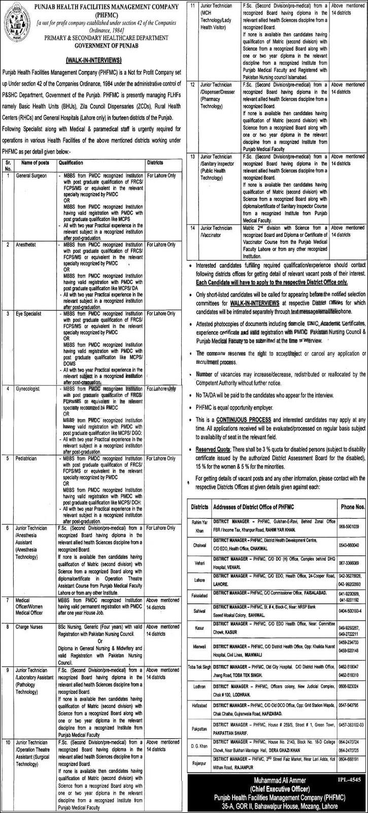Punjab Health Facilities Management Company Jobs