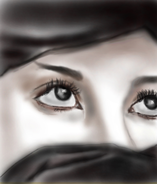 Digital Painting of Beautiful Eyes of Young Woman | a2ztuts