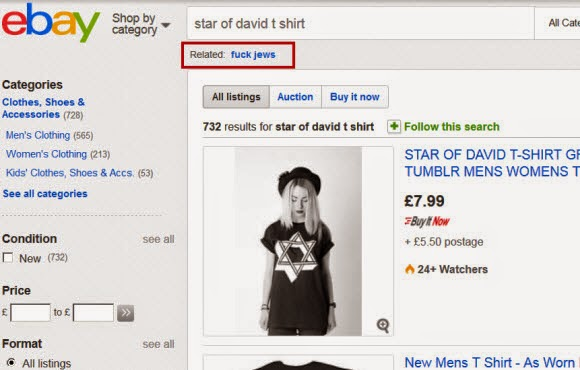 Elder Of Ziyon Israel News Ebay Uk Offered F Jews As A Related Search For Star Of David T Shirts