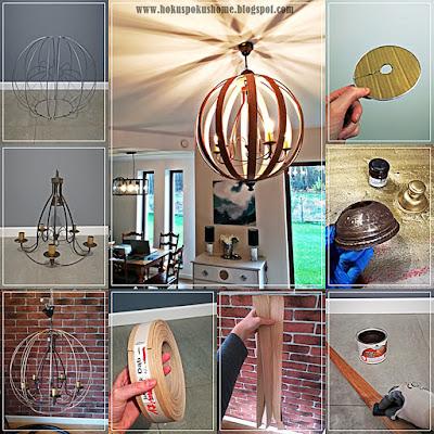 drewniana kula, żyrandol orb, lampa