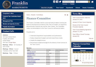 Franklin, MA: Finance Committee - Agenda -Jan 30, 2018