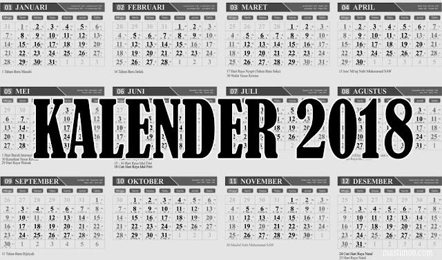 Donlowad Kalender 2018 file cdr (Coreldraw) Gratis lengkap Hijriyah dan Jawa