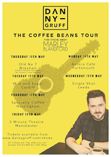 A picture with Danny Gruff in in bold black font in a thin black square with The Coffee Bean Tour in bold medium black font with dates such as Wednesday the 16th of May in smaller black capital bold font with Single Shot Leeds in small thin black font on a yellow background.