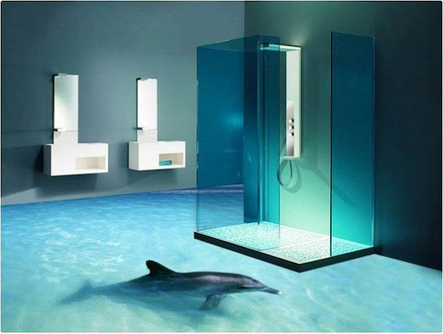 3D bathroom floor murals, self leveling epoxy resin floors, dolphin floor