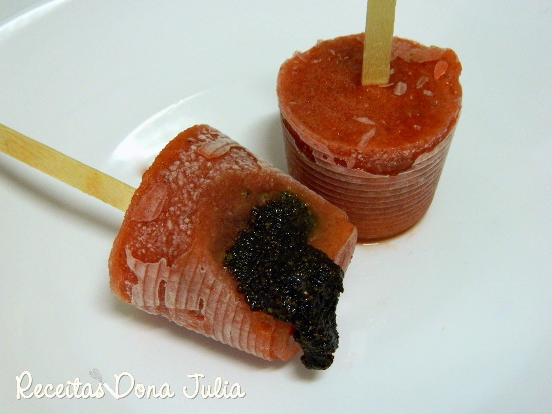 Paletas mexicanas de morango com creme de avelã