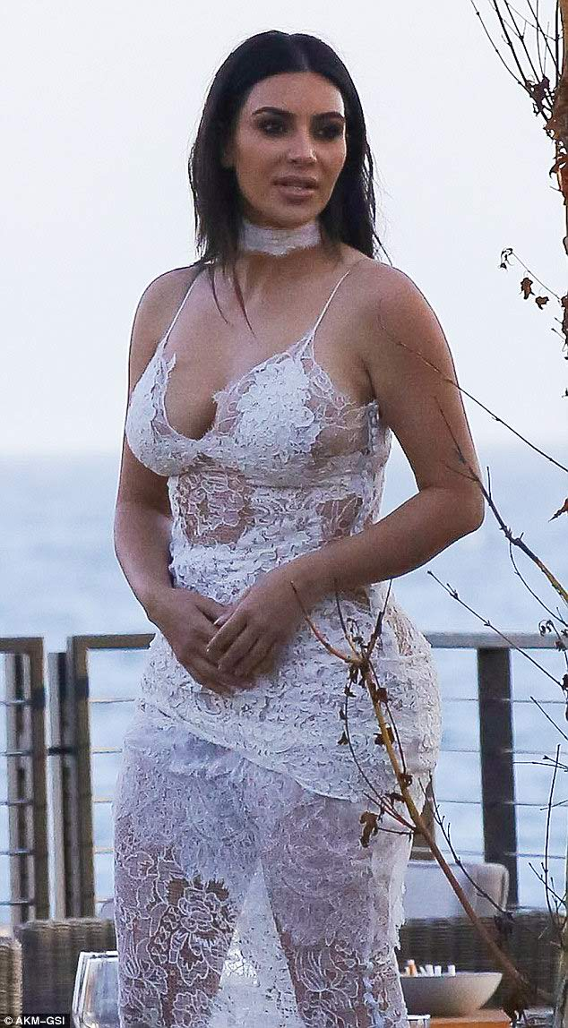 Kim Kardashian wears sheer lace dress for Scott Disick's birthday party