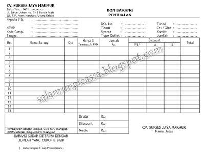 101 Template Nota Faktur Format Word Lengkap Berbagai Model