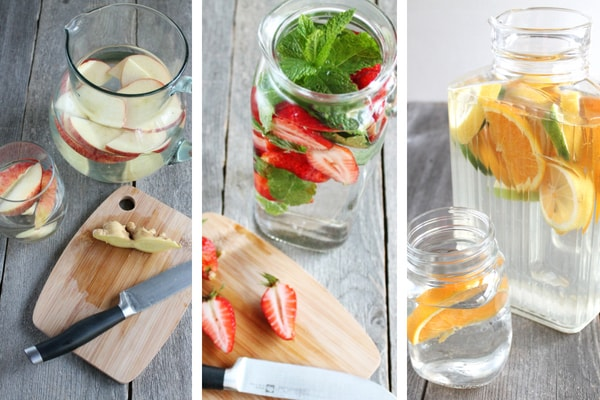 Detox water (AKA infused water) is SO EASY to make. Here are 11 easy recipes to get you started. Pop over to the post to download the ebook with 120 recipes!