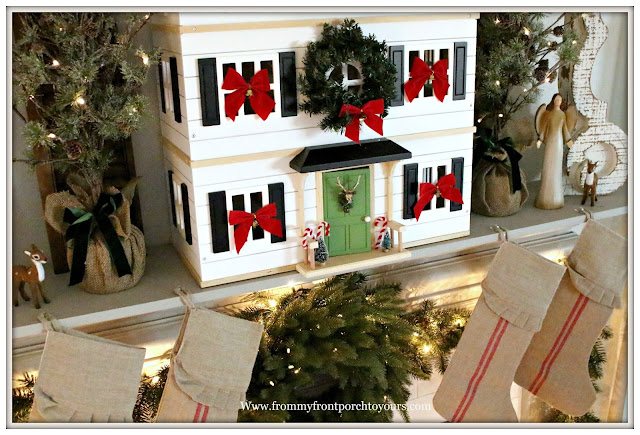 French Country Farmhouse -Christmas Mantel-Grain Sack Christmas Stockings-Hearth & Hand-Doll House-From My Front Porch To Yours