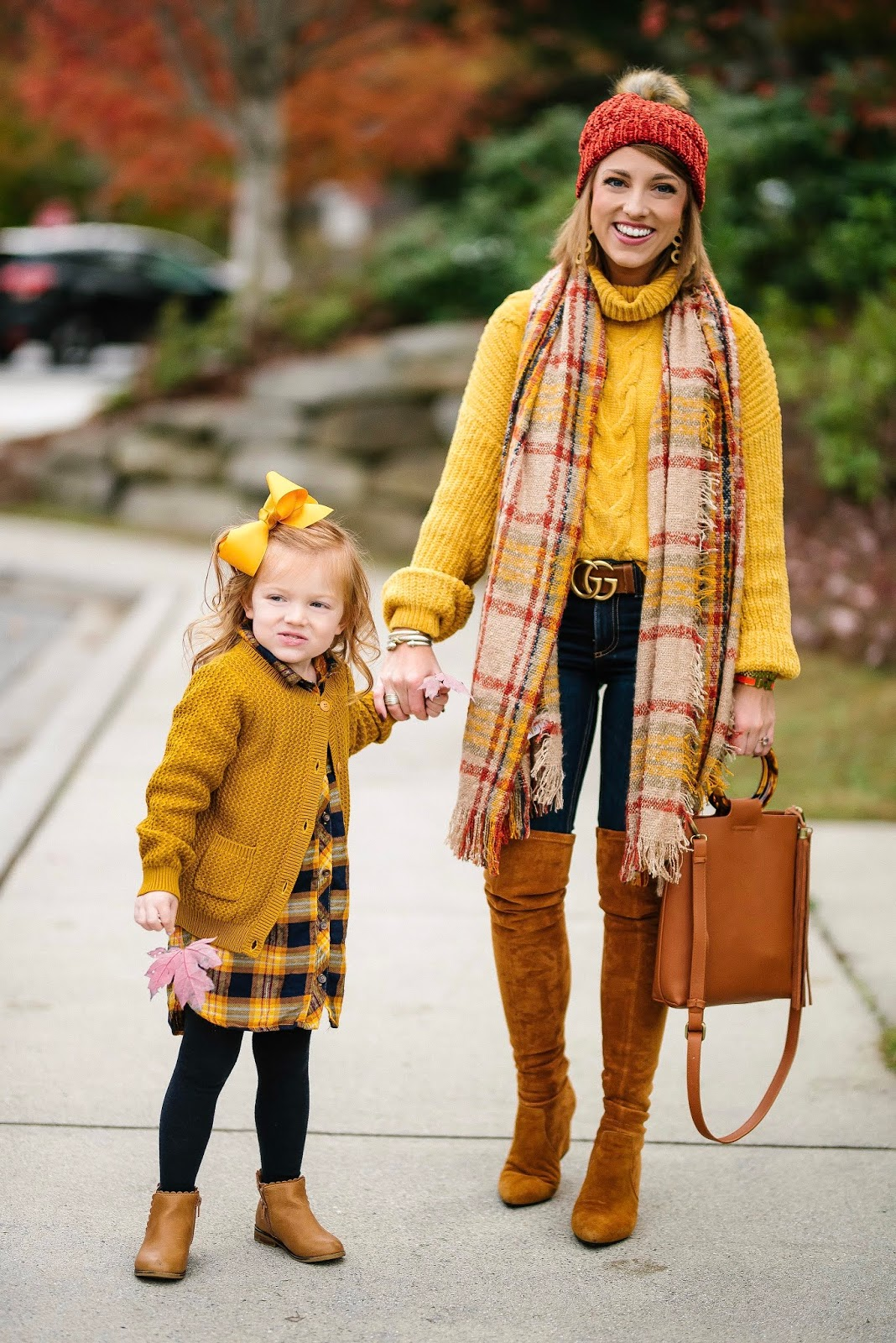 Under $60 Yellow Chenille Sweater, Under $30 Scarf, Under $20 Beanie and OTK Boots (that are the BEST Stuart Weitzman dupes) - Something Delightful Blog