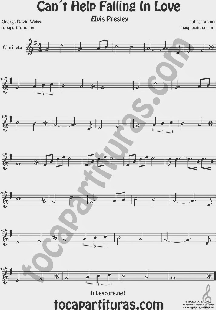 Can´t Help Falling in Love  Partitura de Clarinete Sheet Music for Clarinet Music Score