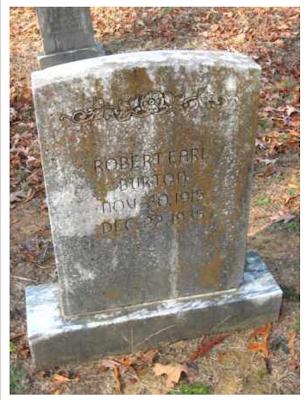 Robert Earl Burton gravestone, Gibson Cemetery, Arkansas