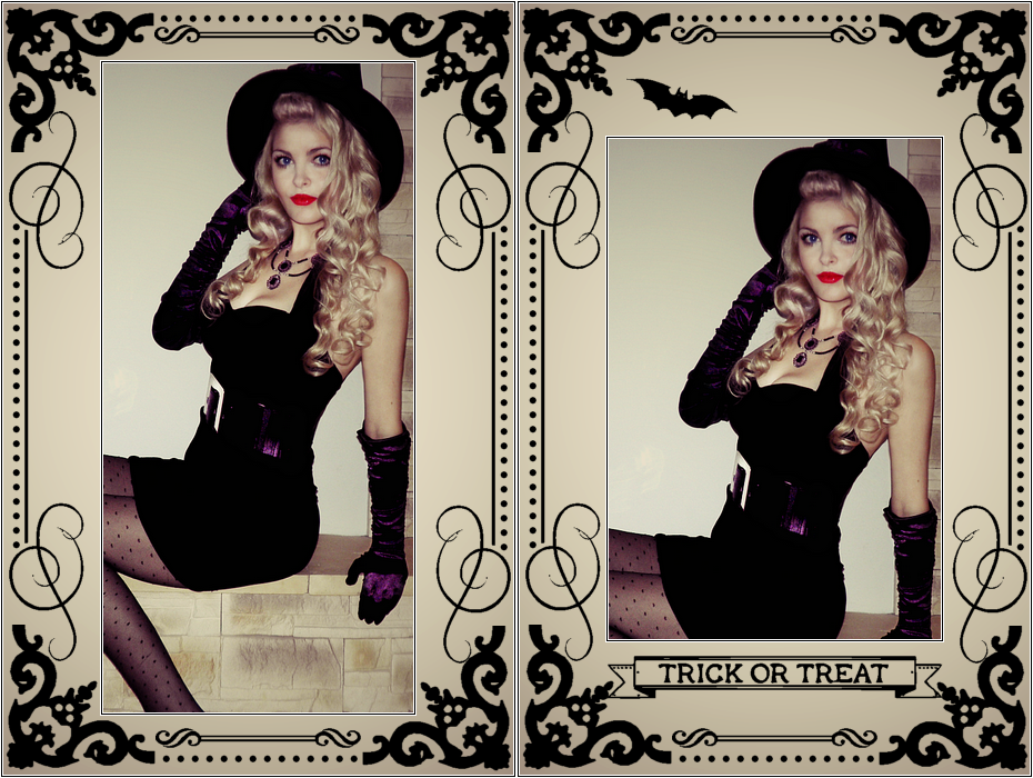 Halloween Pin Up, Vintage, Retro Witch Costume