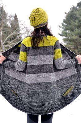 sweter na drutach w kontrastowych kolorach