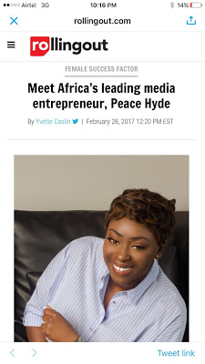 Peace Hyde Named As Africa's Leading Media Entrepreneur By US Rolling Out Magazine