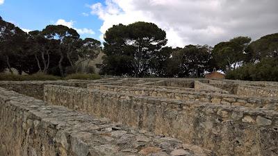 Views of Castello di Donnafuggata including stone labyrinth.