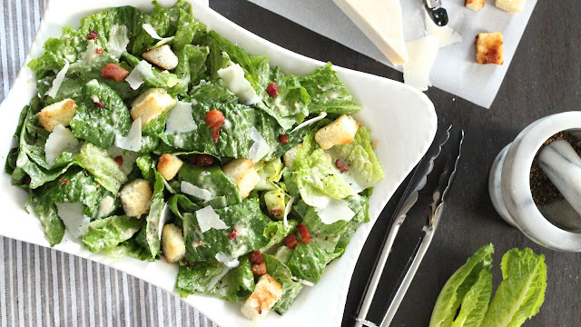 Roasted Black Pepper Caesar Salad with Pancetta