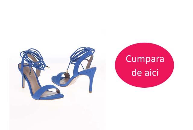 Sandale piele naturala elegante albastre cu toc de zi / de ocazii